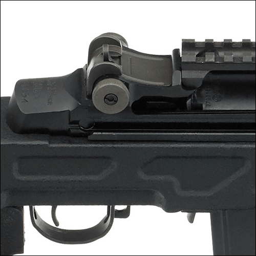 Close up of a firearm.
